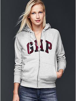 Sherpa-lined plaid logo hoodie - heather grey