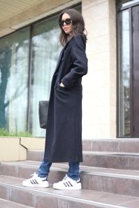 Long navy wool coat_ripped jeans_adidas superstars_Karl Marx t-shirt_Shineologie blog_Zharkyn Omurbekova